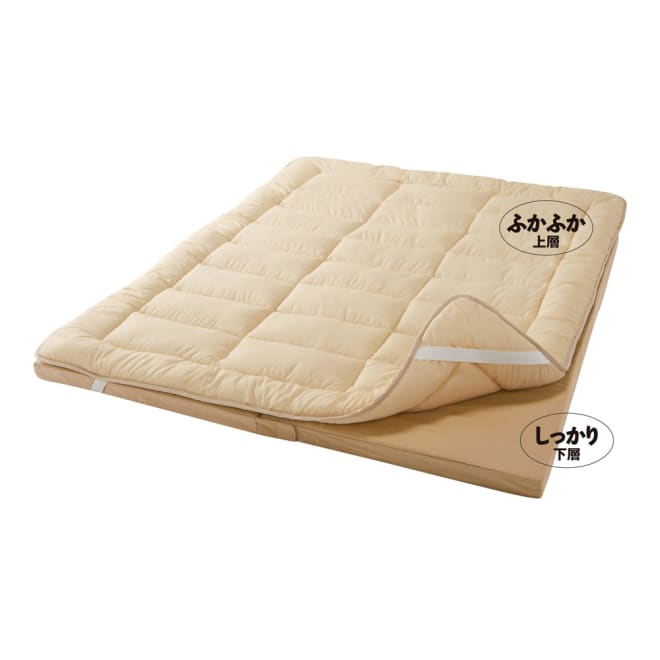 抗菌コンパクト&ワイド敷布団専用ふかふか敷き上層パッドのみ (イ)ライトブラウン ふかふか上層 *商品は上層パッドのみになります。画像はマットを含む使用例。