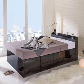 【セミダブル・ユーロトップポケットコイル】光沢が美しい収納付きチェストベッド 写真