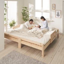 ガード付きひのきすのこベッド ヘッドなし ※写真はシングルショートサイズを2台並べて使用しています。お届けは1台です。
