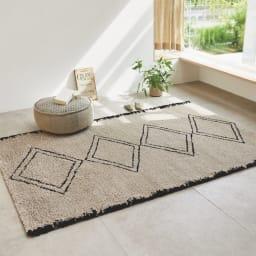 ベルギー製ウィルトン織りラグ〈アニュラ〉  (ア)ベージュ系・約160×230cm