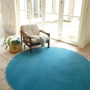 円形・径約100cm スミトロン多色ラグ 写真