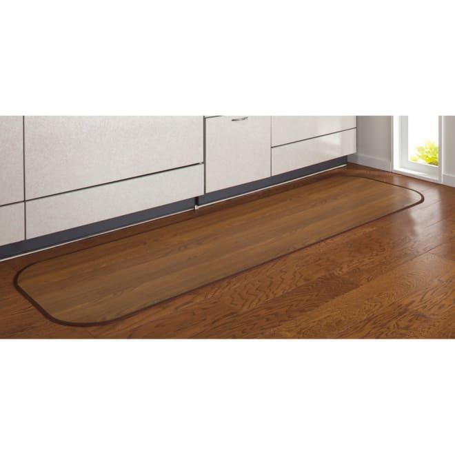消臭加工フローリング調キッチンマット 幅45cm・幅60cm (ウ)ダークブラウン