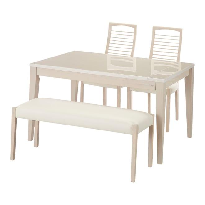 光沢が美しい 伸長式 モダンダイニング お得な4点セット(ダイニングテーブル+チェア2脚+ベンチ小) ダイニング4点セット(ダイニングテーブル、チェア2脚、ベンチ小※幅110cm)