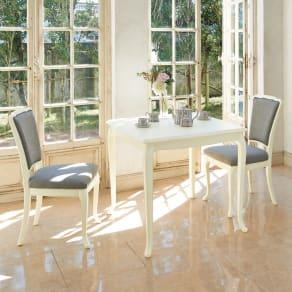 BLANC/ブランエレガントラインシリーズ テーブル3点セット(ダイニングテーブル・幅80cm+チェア2脚組) 写真