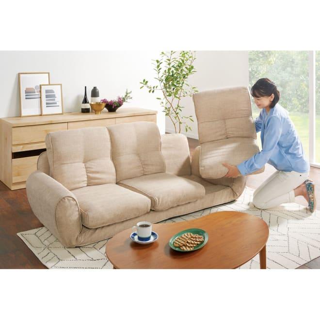 座椅子にもなる!2way省スペースソファ トリプル・幅173~215cm 普段は3人掛け、来客時は最大6人まで座ることができます。(ア)ベージュ