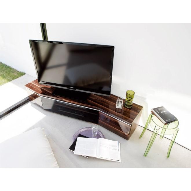 住宅事情を考えたコーナーテレビボード 幅165cm・左コーナー用(左側壁用) (イ)ダークブラウン