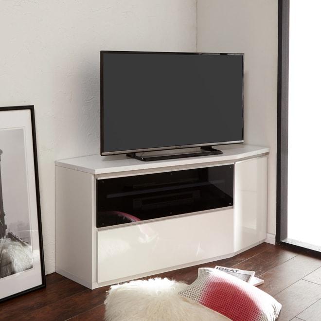 住宅事情を考えたコーナーテレビ台 ハイタイプ 幅123.5cm・ 右コーナー用(右側壁用) (ア)ホワイト