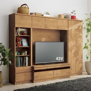 天然木調テレビ台ハイバックシリーズ オープンキャビネット・幅45.5奥行34.5cm 写真