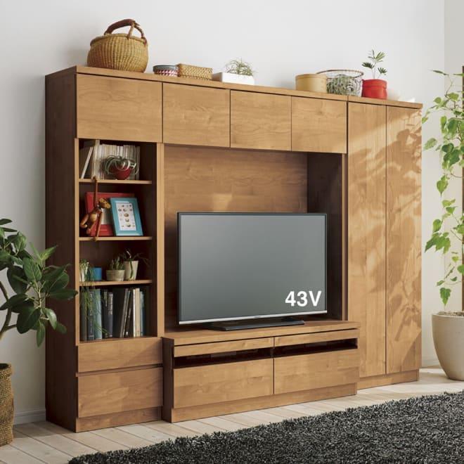 天然木調テレビ台ハイバックシリーズ オープンキャビネット・幅45.5奥行34.5cm コーディネート例 ※お届けはオープンキャビネット・幅45.5cmです。