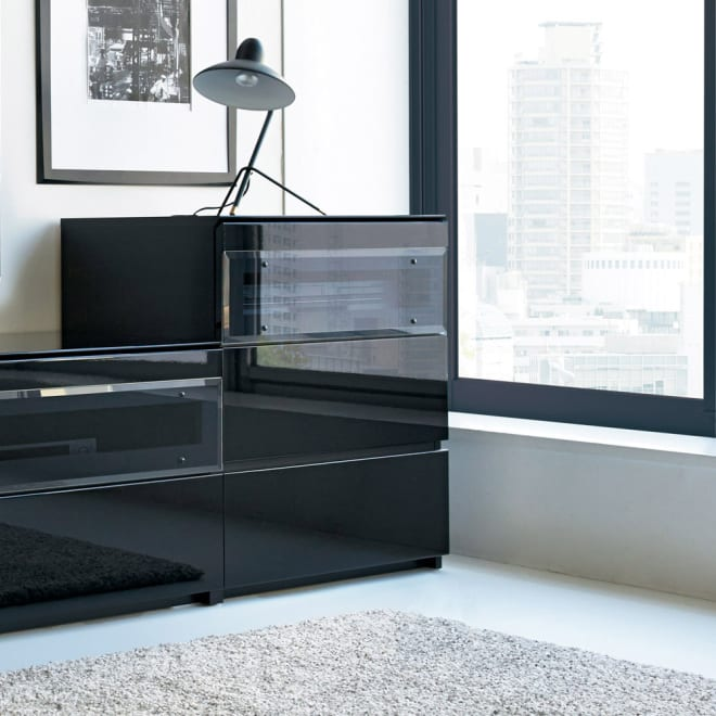 【ローチェスト】パモウナBW-60 上質な空間を奏でるテレビ台 キャビネット 幅60cm 使用イメージ (イ)ブラック