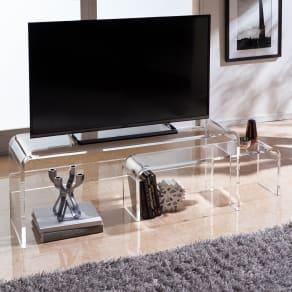 アクリル伸縮式テレビボード 幅90~170cm 写真