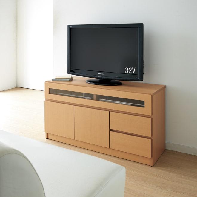 【完成品・国産家具】ベッドルームで大画面シアターシリーズ テレビ台 幅105高さ55cm ソファからもちょうどよい高さの55cm。幅105タイプは扉部も引出もついたタイプです。