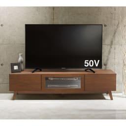 天然木格子 リビングボードシリーズ テレビ台 幅150cm 前板の格子のデザインが、モダンなリビング空間を演出します。