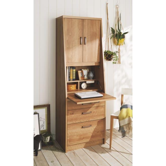 パーソナルワークステーション 幅60cm (イ)ブラウン 書棚、デスク、チェストがこれ1台で。
