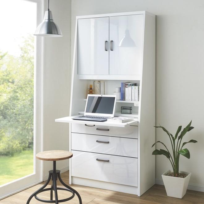 パーソナルワークステーション 幅80cm (ア)ホワイト 書棚、デスク、チェストがこれ1台で。