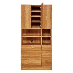 天然木調 リビング壁面収納シリーズ 収納庫 扉・引き出しタイプ 幅86cm 写真