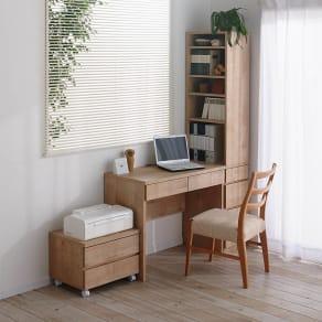 天然木調 配線すっきりデスクシリーズ デスク・幅90cm奥行45cm 写真
