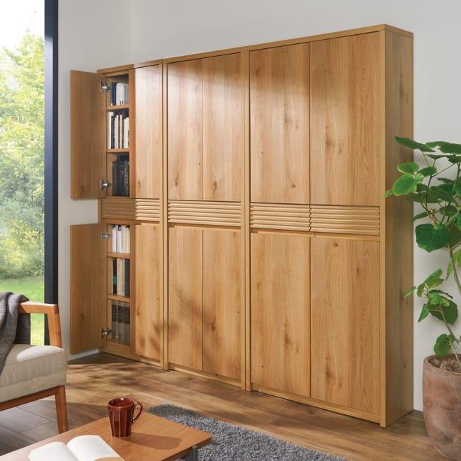 【完成品】木目が美しい引き出し付き本棚 扉タイプ 幅80cm 落ち着きのあるナチュラルデザインがお部屋を美的空間へ大変身させます。※左から幅60cm×2、幅80cmになります。
