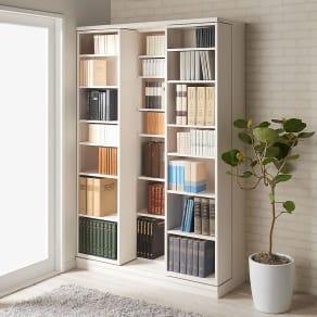 本格仕様 快適スライド書棚 オープン 3列 写真