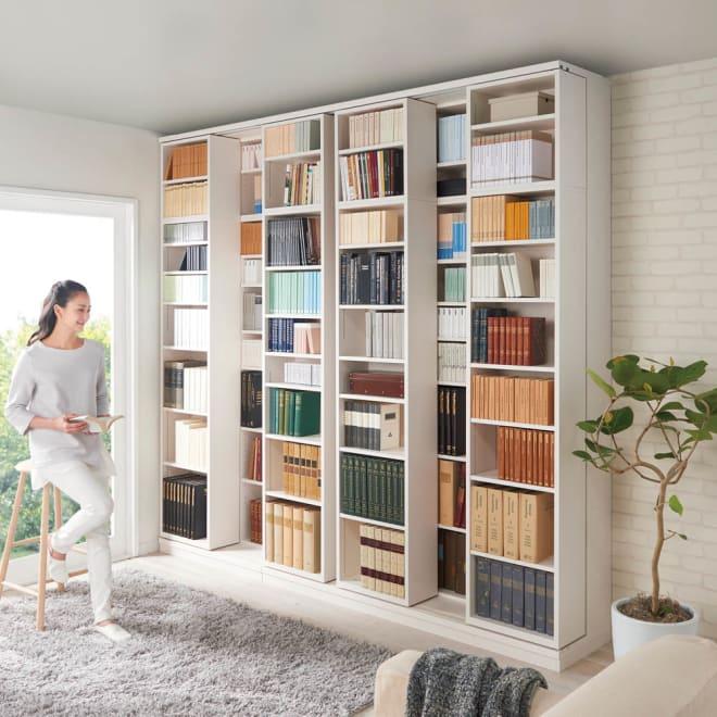 本格仕様 快適スライド書棚 オープン・上置き付き 2列 使用イメージ(ウ)ホワイト(木目) ※お届けは奥のスライド書棚2列タイプです。