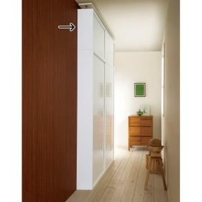 光沢仕様 引き戸壁面収納本棚 幅120奥行21突っ張り上置き高さ55~70(本体52)cm 写真