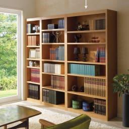 頑丈棚板がっちり書棚(頑丈本棚) ハイタイプ 幅90cm (ア)ライトブラウン ≪組合せ例≫ ※お届けは幅90高さ180cmです。