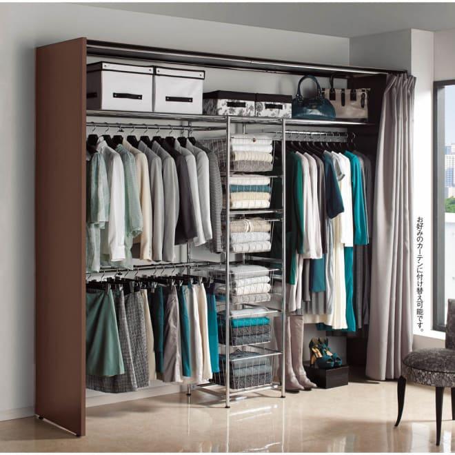 カーテン付き アーバンスタイルクローゼットハンガー 引き出し付きタイプ・幅176~252cm対応 ウォークインクローゼットや寝室、空いたお部屋などに大量収納を実現する洗練のワードローブです。幅が変えられるから置きたいスペースにぴったり設置できます。