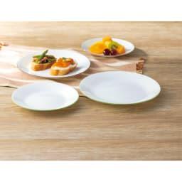 CORELLE/コレール タフホワイト皿2サイズ4枚セット 上から、ブラウン グリーン ※食洗機可・電子レンジオーブン可