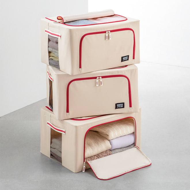 ワイヤー入り収納ボックス3個組 (イ)ベージュ 天面・前面どちらからでも出し入れ可能。