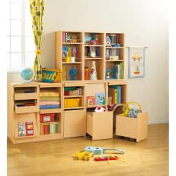 奥行39cm マガジン&レコードキャビネット ベース CDプラス扉タイプ3段3列[高さ85・幅113cm] [コーディネイト例] たっぷり収納できて用途を選ばず、書籍から衣類、小物までさまざまな収納に対応。