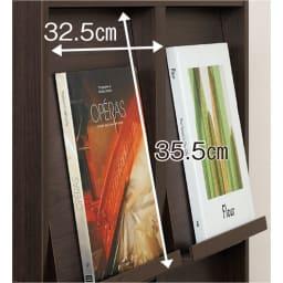 奥行39cm マガジン&レコードキャビネット 上段 扉タイプ2段3列[高さ79・幅113cm] フラップ扉前面はLPレコードも飾れるサイズ。厚さ約1.5cmの雑誌などもディスプレイでき、飾ったままでも開閉できます。