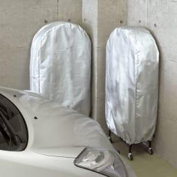 薄型タイヤラック2個組【軽自動車・普通車・大型車対応】【カバー付き有】 ※写真はカバー付きタイプです。