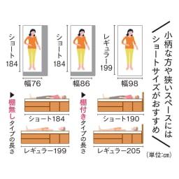 国産マットレス付き棚付き省スペースベッド(ショート/レギュラー) 【身長やスペースに合わせて選べるサイズバリエーション】