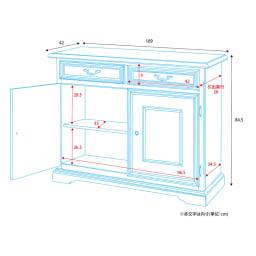イタリア製 コンパクト収納家具シリーズ キャビネット(リビングボード) 詳細図(単位:cm)