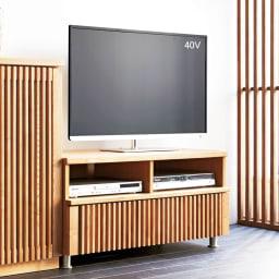 和モダン 格子 リビング収納 シリーズ テレビ台 幅100cm 木目がはっきりとしたタモ材に格子デザインをプラス。 (ア)ナチュラル