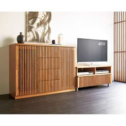 和モダン 格子 リビング収納 シリーズ テレビ台 幅100cm 天然木の風合いが和モダンな雰囲気を演出します。(ア)ナチュラル ※組合せ例。お届けはテレビ台幅100となります。