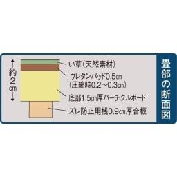 ユニット畳シリーズ 半畳 高さ45cm 【畳部の断面図】