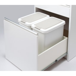 大型レンジがスッキリ隠せるダイニングボードシリーズ ダスト家電タイプ・幅77.5cm 3個別売りごみ箱を収納可能。