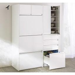 大型レンジがスッキリ隠せるダイニングボードシリーズ 食器棚・幅77.5cm (イ)ホワイト色見本 家電収納部はフラップ扉で簡単に開閉ができます。