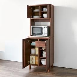 アルダー天然木アールデザインシリーズ キッチンボード 幅60cm 家電から食器・ストックまで、たっぷりの収納力が自慢です。(イ)ダークブラウン