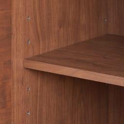 アルダー天然木アールデザインシリーズ キッチンボード 幅80cm 収納棚は5cm間隔で高さ調整可能。