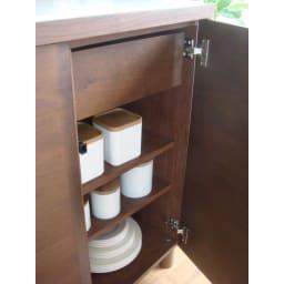 アルダー天然木アールデザインシリーズ キッチンボード 幅80cm ※可動棚板1枚サイズ・耐荷重:幅37 奥行33 厚さ1.7 cm・耐荷重量約5 kg