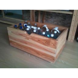 国産杉の飾る無垢材キッチン収納 キッチンワゴン 幅107奥行45cm (ラック幅119cm用) ペットボトルもしっかり収まります。