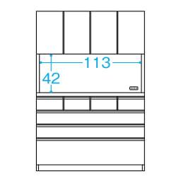 シンプルラインダイニングボードシリーズ レンジボード 幅117.5 高さ173.5cm (単位:cm) ※オープン部奥行内寸約37cm