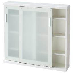 収納物の見やすい ガラス戸カウンター下収納庫 引き戸 幅90奥行22cm ※お届けする商品です。