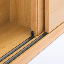 オークカウンター下収納庫 奥行30高さ85cm 引き戸・幅150cm 軽く開閉できるスライドレール付き引き戸。