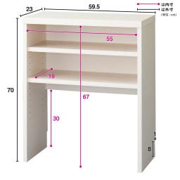 引き戸カウンター下収納庫 奥行23高さ70cmタイプ オープンラック・幅59.5cm バックボードは床から30cmの位置で止めており、その分の空間高さで設置した壁にコンセント口があった場合でも利用できる設計です。 ※写真は奥行29.5cmタイプです。