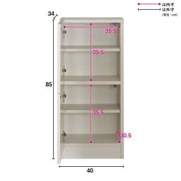 スクエア木目カウンター下収納  1列2マス 幅40cm奥行34cm (ア)ホワイト(扉の開き:左開き)