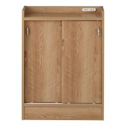 コンセント付き引き戸カウンター下収納庫 幅60cm奥行35cm (イ)ブラウン 温かみのある人気の木目柄ブラウン。