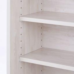ヴィンテージ調ホワイト木目カウンター下収納庫 幅90cm高さ90cm 収納棚は収納物に合わせて3cm間隔で高さを調整できます。